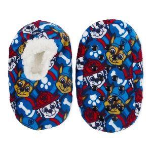 Paw Patrol Fuzzy Boys Slipper Navy Blue Size 5-6
